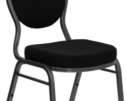 Teardrop Stack Chair in Black Patterned Fabric and Silver Vein Frame