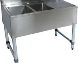 2 compartment stainless steel commercial bar sink right 21x48