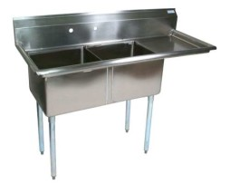 2 compartment stainless steel commercial sink right 18x18