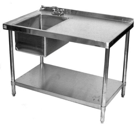 stainless steel commercial work table prep sink left 30x60
