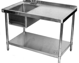 stainless steel commercial work table prep sink left 30x72