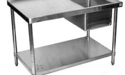 stainless steel commercial work table prep sink right 30x48