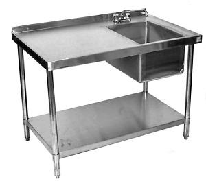 stainless steel commercial work table prep sink right 30x84