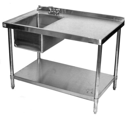 commercial work table with sink on left 24x84